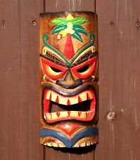 Large 30cm Hand Carved Painted Tiki Hawaiian Wall Hanging Mask Face Mens Gift
