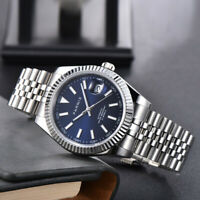 Parnis 39mm Blue Dial sapphir Miyota 8215 Automatic Movement Movement Mens Watch