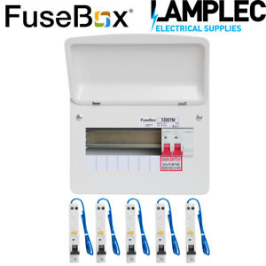 Fusebox 7 Way Metal Consumer Unit with 5 RCBOs A Rated 100A Main Switch RCBO