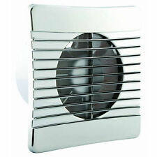 """Chrome Effect Slimline Bathroom Fan - 4"""" 100mm Low Profile Extractor With Timer"""
