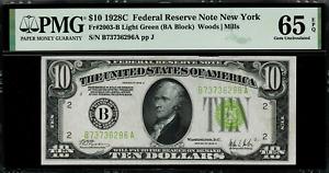 1928C $10 Federal Reserve Note New York FR 2003-B Light Green Seal - PMG 65 EPQ