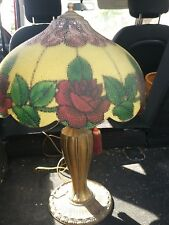 1920s Cast Iron Dual socket base Reverse Painted Shade Gorgeous Roses