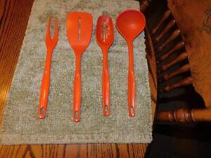 4 Vintage Foley Orange Kitchen Utensils~ Spatula, Ladle, Fork, Slotted Spoon