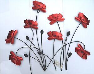 New Remembrance Poppy Wall Art Bunch Decor Home Garden Contemporary Metal