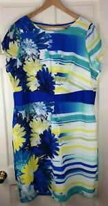 per una Blue Floral Short Sleeve Dress Blue / Yellow /Green / White mix Size 22