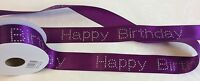 7 Colours- DIAMANTE HAPPY BIRTHDAY Ribbon 40mm wide- Meter lengths available