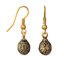 Faberge Egg Earrings with Russian Doubleheaded Eagle 0.6'' 1.5 cm black #0965-13
