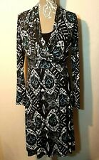 Ladies Midi Dress UK 14 Blue Faux Cross Over Jersey Ikat Long Sleeve