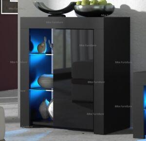 Modern Cabinet Cupboard sideboard - Matt Body and High Gloss Doors + LED Light!