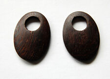 VINTAGE WOOD WOODEN OVAL EARRING PENDANT PENDANTS 38 x 28mm