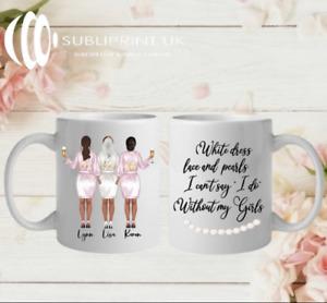 Bride / Bridesmaid / Maid of Honour Wedding Personalised Gift Mug - Three Person