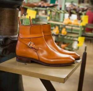 New Pure Handmade Tan Leather Ankle Strap Boots for Men's
