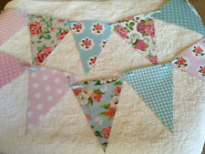 Handmade Bunting Floral Polka dot Gingham Shabby chic PVC Flags with Ribbon 40ft
