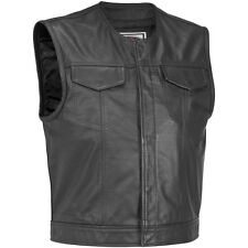 Gilet Pelle Moto Zip Bottoni SOA Stile Modello Sons Vest Leather Bikers Tg XXL