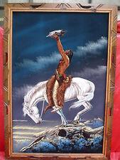 bello,vecchio dipinto__Indiano cavallo__brillanti Colori__100x70cm_