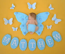 Edible personalised butterfly & baby Christening cake topper decoration Blue