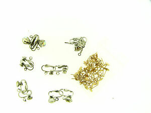 Vintage Mix Silver Clear & AB Crystal Prong Set Add Drop Clip Earring Findings