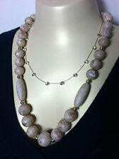 Vintage Jewelry LOT OF 2 Necklace Choker w/ Beige Faux Bead Glass Rhinestones #1