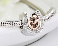 ❤️❤ 925 HORSESHOE CHARM LUCKY GENUINE REAL STERLING SILVER MOM SON HAND IN HAND