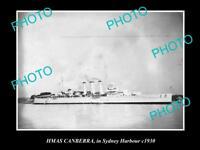 OLD LARGE HISTORIC PHOTO OF HMAS CANBERRA IN SYDNEY c1930, AUSTRALIAN NAVY