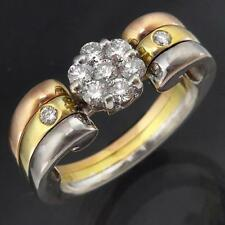 Finely Crafted White Rose Yellow 18k Solid GOLD DIAMOND RING Val=$2625 Sz L