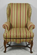 Queen Anne Style Walnut Wing Chair Designer Stripped Fabric Williamsburg Style