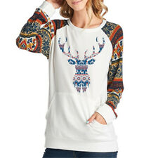 Women's Christmas Reindeer Tops Long Sleeve Pullover Casual XMAS Blouse T-shirt