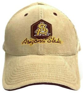 NCAA by Colosseum ASU Sun Devils Embroidered Khaki Corduroy Strap-Back Game Hat
