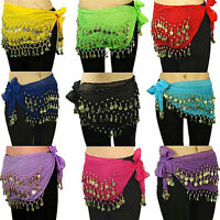 Belly Dance Gold Coin 3 Rows Belt Hip Tribal Scarf Wrap Chain Dancing Costume