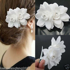 Women Double White Lily Silk Flower Hair Comb Pin Up Updo Bridal Beauty Decor