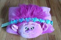 "15"" PILLOW PET POPPY TROLL DREAMWORKS PLUSH TRAVEL HAIR PINK GIRL BED CUTE"