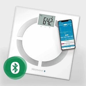 Medisana BS 444 Bluetooth Digital Body Fat Analyser Scale, White Glass 30cm