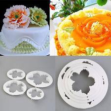 Cortador Molde de pétalos de peonía blanca 4 un. Flores Decoración De Pasteles Moldes su pasta de goma