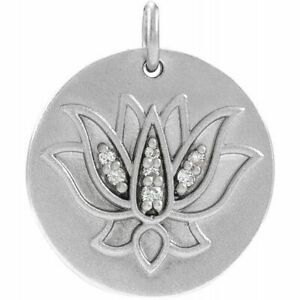 Diamond Lotus Pendant In Platinum