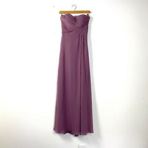 Dusty Pink Chifforn Bridesmaid Dress Fitted Bodice Full Lenght US 0 Brand New