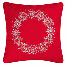 RED 18x18 SNOWFLAKE EMBROIDERED FILLED PILLOW : SILVER CHRISTMAS WREATH TOSS