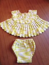 VINTAGE HAND CROCHETED NEWBORN BABY or DOLL DRESS, variegated yellow cotton