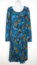 J. Jill Wearever M Tall Medium Faux Wrap Dress Feather Print Knot Twist Detail