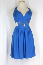 BCBG $318 Halter Cut Out Dress LARGE Larkspur Blue Open Back Stretch Knit