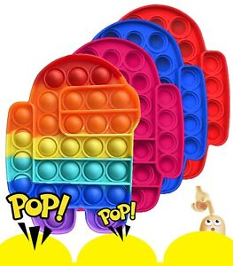 4 pack Popit Among us Fidget Toy Push Bubble Sensory Stress Relief Kids Game USA