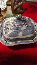 Antique blue and white tureen..coverd dish..willow pattern.stonware old