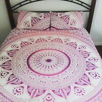 Indian Ombre Mandala Printed Queen Reversible Duvet Cover Hippie Pink Throw Set