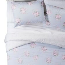 Simply Shabby Chic Blue White Pink Rose Floral Comforter Set - King