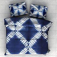 Indian King Size Reversible Duvet Cover Tie Dye Shibori Quilt Doona Cover Decor