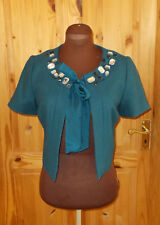 RIVER ISLAND petrol blue-green rhinestone WOOL short sleeve jacket top 10 36