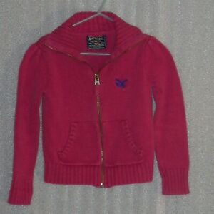 American Living, girls red zip up cardigan, size 4 USA