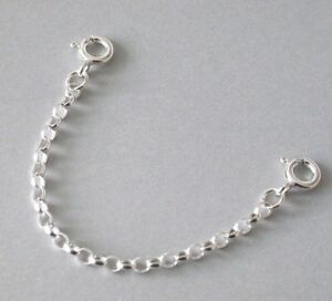 925 Sterling Silver Extender Safety Belcher Chain 2 x Bolt Rings SELECT LENGTH