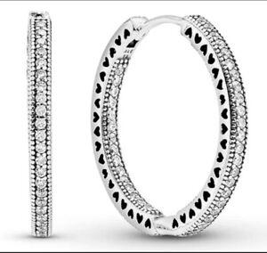 Genuine Pandora Hoop Earrings Stub 925 Sterling Silver 296317CZ