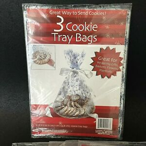 51 Christmas Cookie Tray Bags 18'' x 22'' Cellophane Blue Snowflake Design