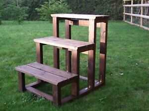 Horse Timber Mounting Block Large Solid 3 Step Authentic Wooden Mounting Block